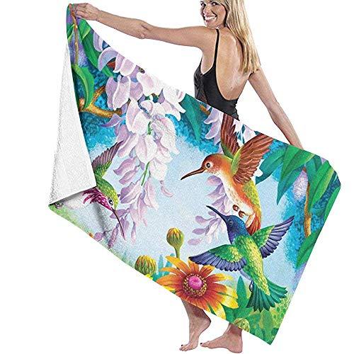 Yocmre Badetuch Wrap Kolibri Fly Prints Spa Dusche und Wrap Handtuch 130 * 80cm (52x32 Zoll) Bademantel Cover Up für Unisex