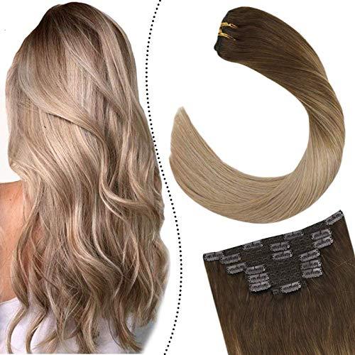 Ugeat Clips in Extensions Echthaar Tressen 7Pcs/100G 16zoll Damen Clip in Remy Haarverlangerung fur Komplette Braun zu Aschblond und Dunkle Honigblondine #4/18/16