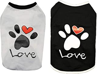 CheeseandU 2019 New 2Pcs Summer Dog Clothes Pet Vest Puppy Dog Cute Cool Soft Cotton Shirt with Paw Love Printed Sleeveles...
