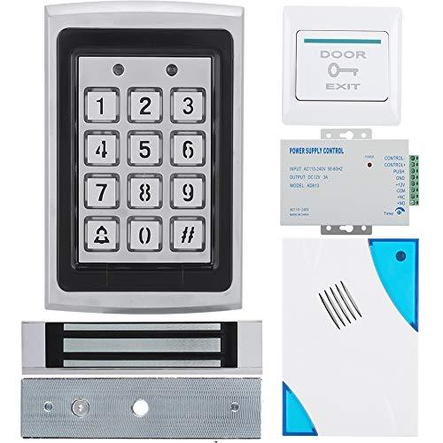 Magnetisch elektrisch wachtwoord deurslot toegangscontrolesysteem kit, toegangscontrole machine + 180kg magnetisch slot + afstandsbediening + deurbel + voeding + exit knop beveiligingssysteem kit