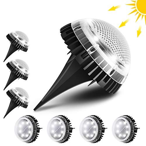 Tooltoo Solarleuchte Garten, [8er Pack] IP67 Wasserdichte LED-Solarleuchten Dekoration für Boden, Büsche, Gartenweg, Rasen, Innenhof (Bright White-6500K)