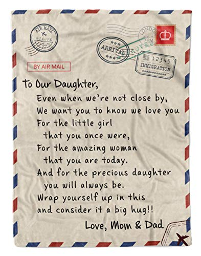 Personalized to Our Daughter Gift Letter Fleece Blanket from Mom & Dad, Even When We're Not Close by We Want You to Know We Love You, Great Customized Blanket for Birthday, Christmas, Thanksgiving