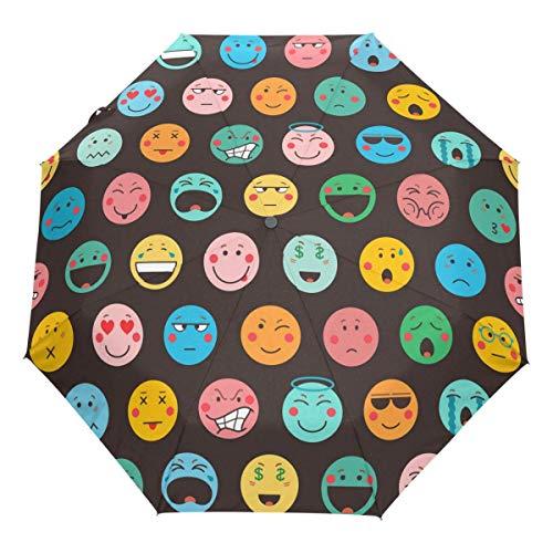 Niedlicher Emoji Auto Regenschirm Öffnen Schließen Winddichtes Reisen Bunte Emoticons Regenschirm Leichter kompakter Sonnenschirm Sonnenschirm & Regen