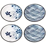 Beautyflier Set of 4 Ceramic Sauce Dish Soy Sauce Dipping Bowls Appetizer Plates Side Dishes Serving Dish Japanese Style Dinnerware Set (WAVE&SAKURA(3.75inch))