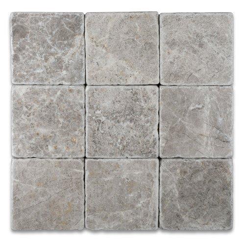 Silverado Gray 4X4 Marble Tumbled Mosaic Tile