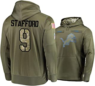 Dunbrooke Apparel Detroit Lions #9 Matthew Stafford Mens Salute to Service Hoodie - Olive