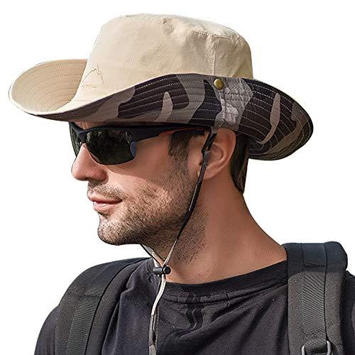 WANYIG Sonnenhut Herren UV Schutz Doppelseitiger Fischerhut Sommer Outdoor Safari Hut Faltbar Wanderhut Gartenhut Boonie Buschhut Hiking Bucket Hat(Beige)