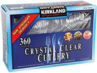Kirkland Signature Crystal Clear Disposable Cutlery, 360 Pieces (Pack of 2)