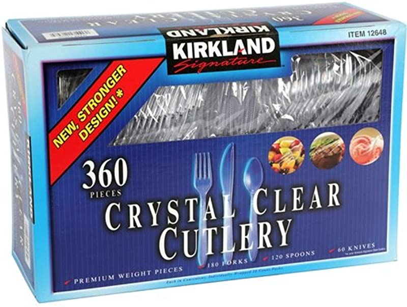 Kirkland Signature Crystal Clear Disposable Cutlery 360 Pieces Pack Of 2