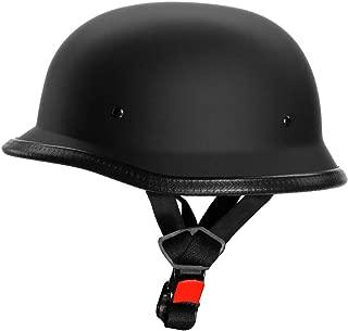 AutokraftZ GERMAN-STYL Half Face Helmet (Matte Black, M)