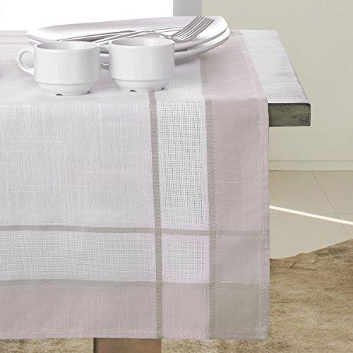 Nappe Nappe Classique élégant aspect toile rectangulaire Motif géométrique rayures Beige Cappuccino, Polyester, beige, 60x120