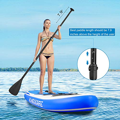 """Product Image 3: MaxKare Stand Up Paddle Board Inflatable SUP W Stand-up Paddle Board Accessories Backpack Paddle Leash Pump Non-Slip Deck ISUP Fishing Yoga Rigid Solid 10'× 30"""" ×6"""" Inches Thick Adult & Youth & Kid"""