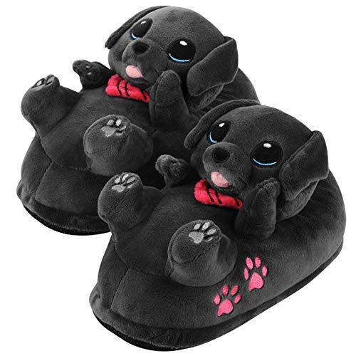corimori – Buddy der Labrador, Hunde Plüsch-Hausschuhe für Kinder und Erwachsene, EU Einheitsgröße 34 bis 44 (Schwarz)