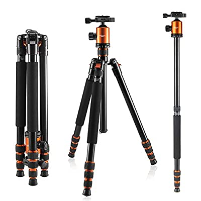 Camera Tripod, KetDirect Black/Blue Aluminium Compact Portable Lightweight Professional Camera Tripods For Cameras monopod With 360 Degree Ball Head and Carry Case For Canon Nikon Sony Olympus DSLR Cameras ...