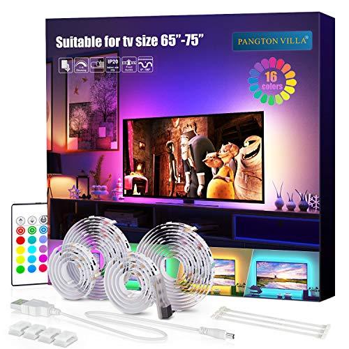 LED TV Hintergrundbeleuchtung 4m Kit Für 65-75 Zoll TV,Pangton Villa RGB 5050 led Strip mit Fernbedienung Usb TV Beleuchtung,MEHRWEG