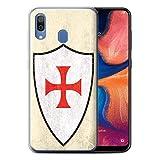 Phone Case for Samsung Galaxy A20/A30 2019 Fantasy Medieval Shield Art Knight Templar Cross Design Transparent Clear Ultra Soft Flexi Silicone Gel/TPU Bumper Cover