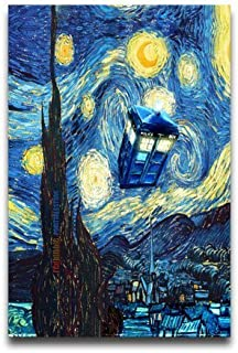 Custom Poster 18x24 inch with Tardis Doctor Who Starry Night Background