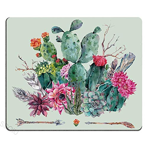 Cactus Mouse Pad, Frühlingsgarten mit Boho Style Bouquet von dornigen Pflanzen blüht Pfeile Federn, mehrfarbig