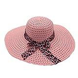 XCSM Sombrero de Paja de ala Ancha para Mujer Floppy Plegable Roll up Bowknot Beach Sun Hat Summer Outdoor Travel Beach Cap Protección UV