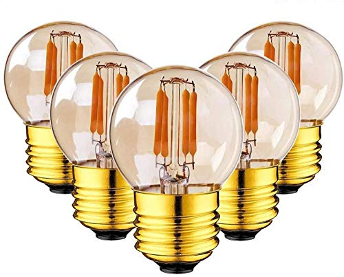G40 LED Light Bulb Filament Mini Globe Outdoor String 2W Warm White 2200K (Amber Glow) 10W Replacement Equivalent E27 Edison Screw Base Dimmable - 5Pack-warm yellow 2700K Amazing