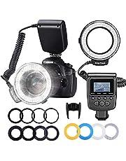 Neewer 48 macro led-ringflitslampenset voor Canon/Nikon/Panasonic/Olympus/Pentax SLR camera (macro-ringkop, vermogensregelaar met LCD-scherm, 4x flits-diffusor, 8x adapterring)