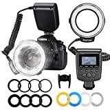 Neewer 48 Macro LED Ring Flash Bundle with LCD Display Power Control, Adapter Rings...