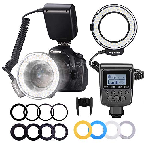 Neewer 48 Macro LED Anello Flash con LCD Display Controllo di Aliemntazione, Anello di Adattatore e Flash Diffusore per Canon 650D, 600D, 550D, 70D, 6