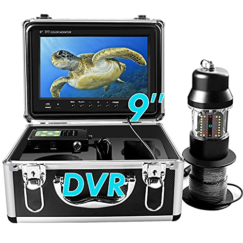 Underwater Ice Fishing Camera 360° Rotating View Waterproof Video Camera and Adjustable 38 LEDs 9 inch 720P HD LCD Monitor with DVR Fish Finder for Ice,Lake and Boat Fishing