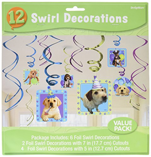 amscan Adorable Party Pups Swirls Decorations Value Kit, Multicolor, 24'