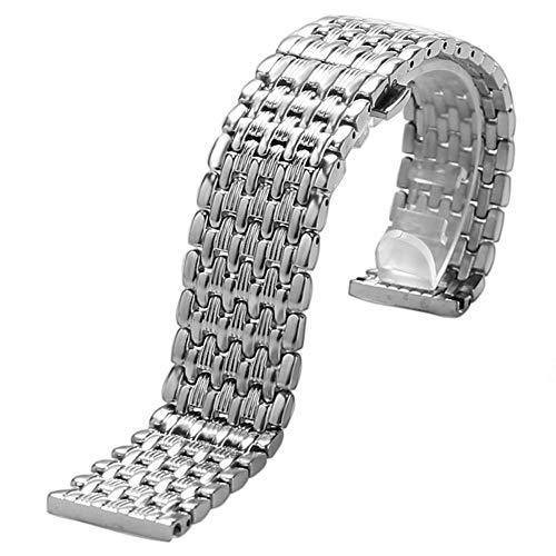 DHDHWL Correa Reloj 18/20/22 mm Acero Inoxidable de Plata 9 Cuentas Correa Hebilla del despliegue con botón de la Correa de la Pulsera de los Relojes de los Hombres de reemplazo S0061