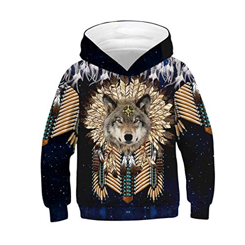 Tsyllyp Boy Girl Native American Indian Wolf 3D Print Graphic Sweatshirts Pullover Kids Hoodies