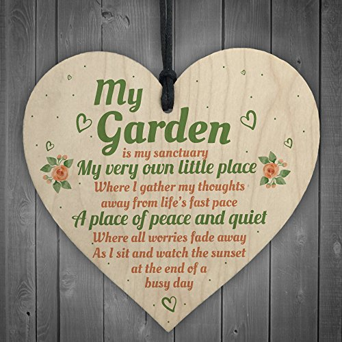 RED OCEAN My Garden Gardening Shed Summer House Wood Shabby Chic Heart Sign Plaque Wall Plaque Friendship Gift