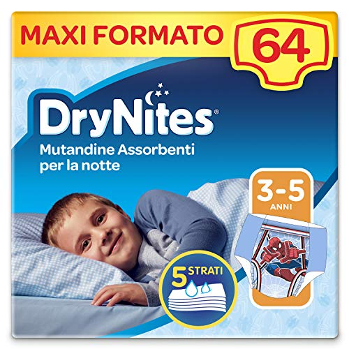 Drynites Mutandine Assorbenti per la Notte per Bambino, 16-23 Kg, Confezione da 64 pezzi (4 x 16)
