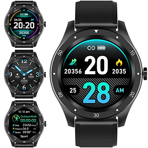 Smartwatch,1,3 Zoll Voller Touch Screen Bluetooth Smartwatch Wasserdicht IP67 Fitness Tracker GPS Sportuhr Armband Pulsuhren Schrittzähler Smartwatch Kompatibel für IOS Android