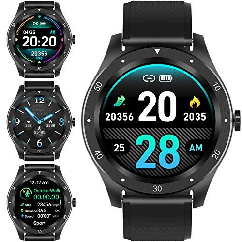 PHIPUDS Smart Watch, Fitness-Tracker mit Herzfrequenzmesser/Pulsoximeter/Blutsauerstoffmessgerät/Blutdruckmessgerät, wasserdicht IP68 Smartwatch Fitness-Uhr Schrittzähler Smart Watch für Männer Frauen