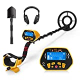 URCERI Metal Detector GC-1028 for Adults High Accuracy Waterproof 2 Modes Outdoor Gold Digger with Sensitive Search Coil LCD Display for Beginners Professionals Yellow