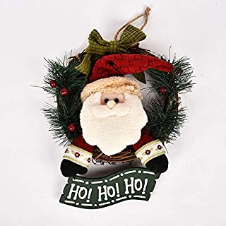 ZYL Christmas Wreath Christmas Rattan Hanging Ornaments Hanging Tag Christmas Decoration Santa Claus Snowman Holiday (Color : 1, Size : Length 29cm/11.4in)