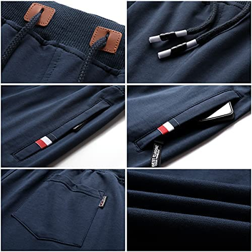 SCODI Men's Shorts Casual Comfy Workout Athletic Shorts Elastic Waist Drawstring Zipper Pockets