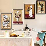 SILYHN Vintage Restaurant Kellner Poster und Drucke Leinwand Malerei Skandinavische Pop-Art Wandbild für Wohnzimmer Küche Deacor 30x40cm Kein Rahmen PT1809