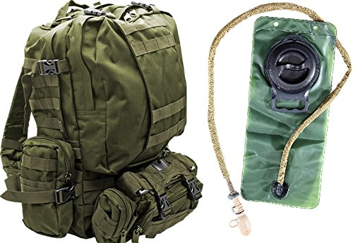 Tactical Military MOLLE Backpack Bundle with 2.5L Hydration Water Bladder & 3 Molle Bags by...
