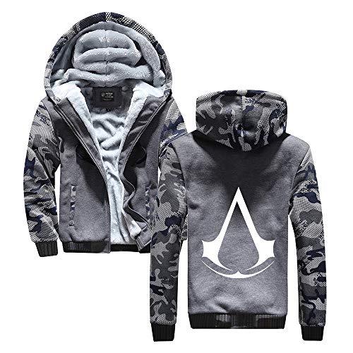 HOOMOLO Assassin's Creed Pullover Kapuzenmantel stilvolles Mens Plus Samt-Oberbekleidung verdicken Jugendliche Jacke mit Reißverschluss Unisex (Color : Grey24, Size : XL)
