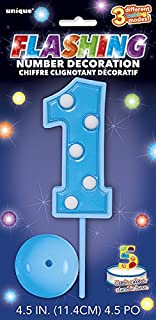Flashing Blue Number 1 Cake Topper Decoration