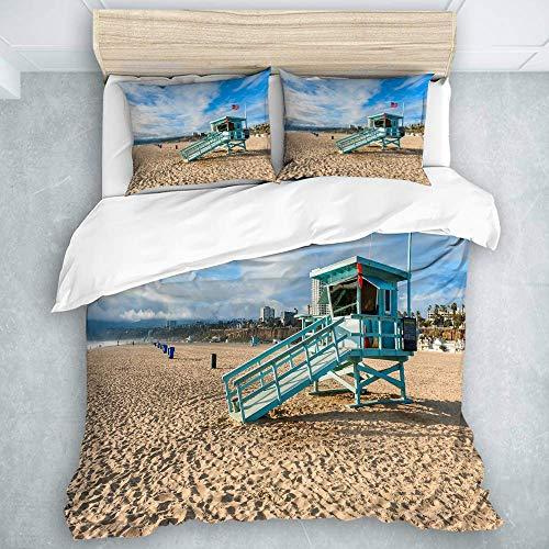 Juego de Funda nórdica, cabaña de Salvavidas en la Playa de Santa Mónica, California, Juego de edredón Burdeos para niñas Adolescentes, 3 Piezas