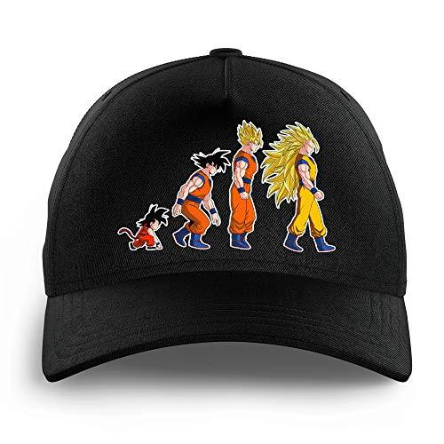 Okiwoki Casquette Enfant Noire Parodie Dragon Ball Z - DBZ - Sangoku Super Saiyajin - La Théorie de l'évolution :(Casquette de qualité supérieure - Taille Unique Ajustable - imprimé en France)