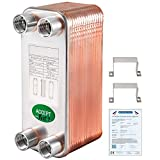 BestEquip Heat Exchanger 3'x7.5' 30 Plates Brazed Plate Heat Exchanger 316L 1/2' BSP FPT Heat...