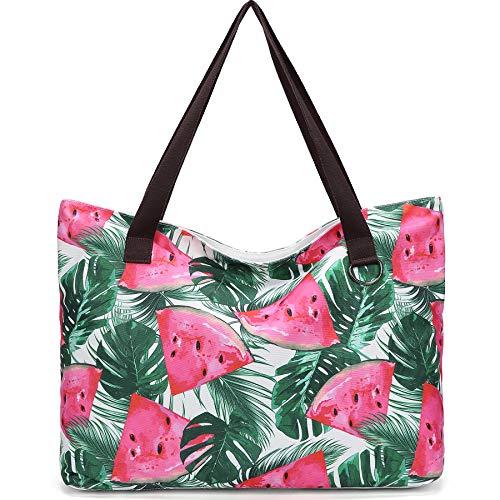 JANSBEN Große Strandtasche mit Reißverschluss Badetasche XXL Shopper Schultertasche Beach Bag fur Damen Herren (Watermelon)
