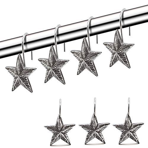 Star Shower Curtain Hooks Rings, Set of 12 Retro Silver Decorative Shower Hooks,Stainless Steel Rustproof Shower Rings for Bathroom (Silver)