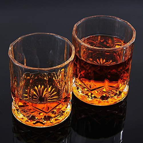MoYouno - Set di 2 bicchieri da whisky in cristallo da whisky in elegante scatola (300 ml/10 oz), per borbone, XO, Scotch, vino (95 x 85 mm)