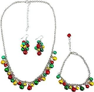 Sistemas de la joyería 1 Juego Precioso de la Navidad de los cascabeles Collar de la Pulsera del Pendiente de la joyería Mujeres Niñas