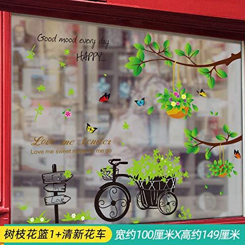 Personalidad creativa etiqueta de la ventana etiqueta de la puerta de vidrio autoadhesiva 3D estéreo etiqueta de la pared ventana-rama cesta de flores 1+ fresh float_Big